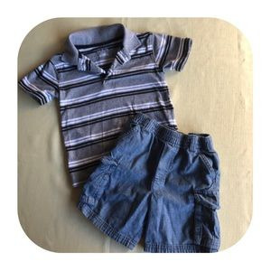 5/$10 Garanimals polo & Jean shorts outfit 3T
